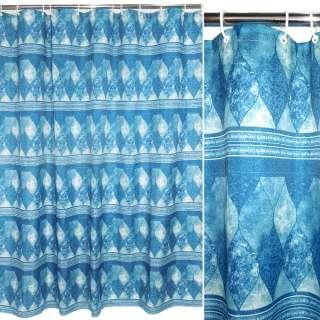 штора д/ванной комнаты сине-голубая с мрамор. рис, 178х183