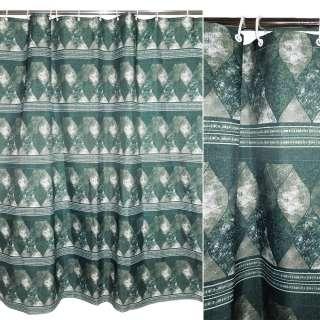 штора д/ванной комнаты тем-зеленая с мрамор. рис, 178х183