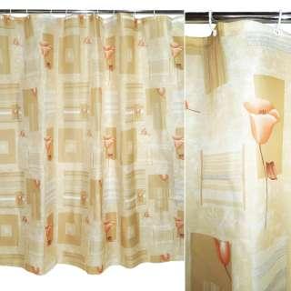 штора д/ванной комнаты св-бежевая в полоску с цв, 178х183