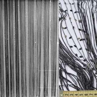 Штора ниточная с пайетками 290х285см черная