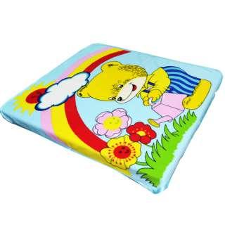 Плед флисовый 110х115 см мишка поливает цветы с радугой голубой
