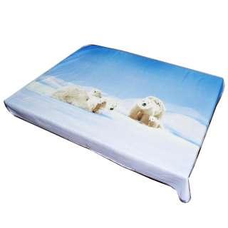 Плед флисовый 134х168 см с белыми медведями голубой