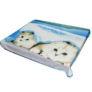 Плед флисовый 133х160 см с двумя котятами голубой
