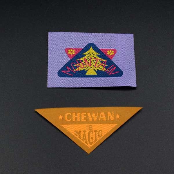Термоаппликация этикетка фиолетовая 70х50мм и треугольник 80х35мм