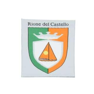 Термоаппликация герб  55х80мм зелено-оранжевый на сером