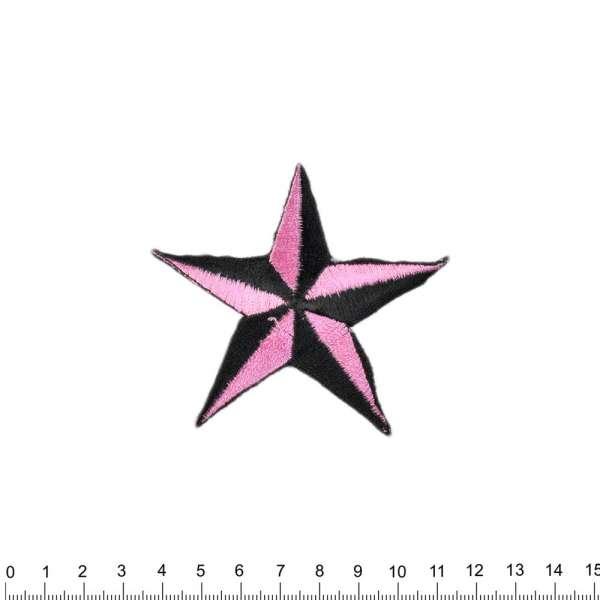 Термоаппликация Звезда 70х80мм черно-розовая