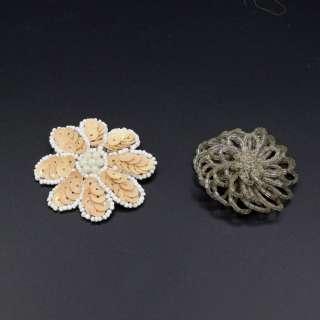 Пришивной декор цветок 55мм бежевый, цветок на булавке 50мм серый
