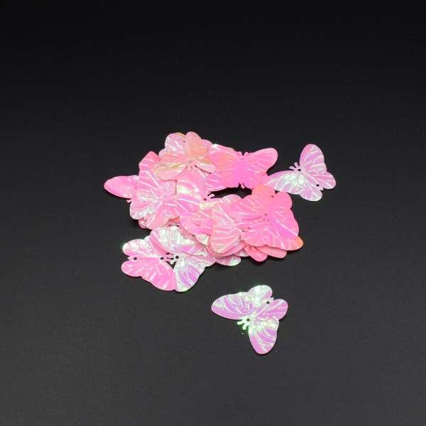 Пайетка бабочка 30х25мм 1 упаковка 2,5г=10шт розовые хамелеон