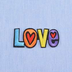 Термоаппликация LOVE 75х30мм разноцветная