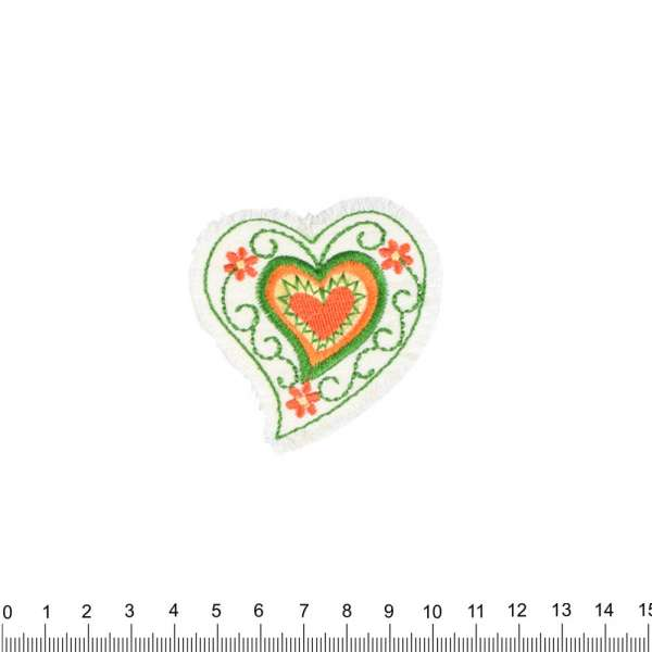 Термоаппликация Сердце 60х60мм молочное с оранжево-зеленой