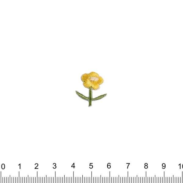 Термоаппликация Цветок 20х20мм желтая
