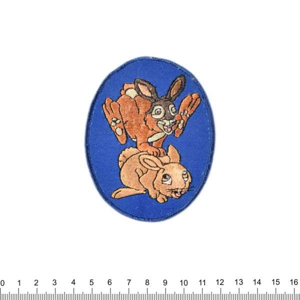 Термоаппликация Зайчики на фоне синем 70х90мм