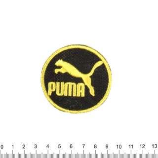 аппликация PUMA круглая черно-желтая, вышивка, 6х6см