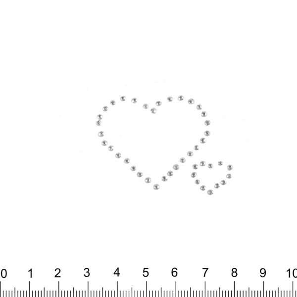 Термоапликация стразы металл Сердца 40х50мм серебристая