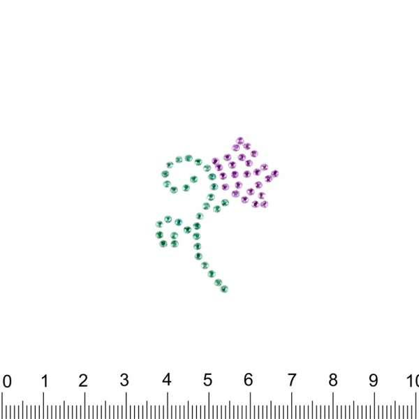 Термоапликация стразы металл Цветок 30х40мм фиолетово-зеленая