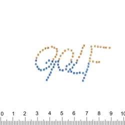 Термоапликация стразы металл GOLF 30х50мм желто-синяя