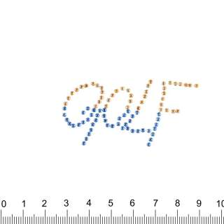 аппликация GOLF желто-синяя, мет.стразы, 3х5см