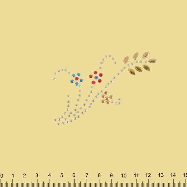Термоапликация стразы металл Ветка с цветами 60х90мм многоцветная