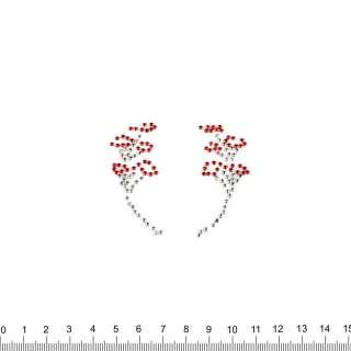 аппликация 2 цветочные ветки, мет.стразы, 6х7см
