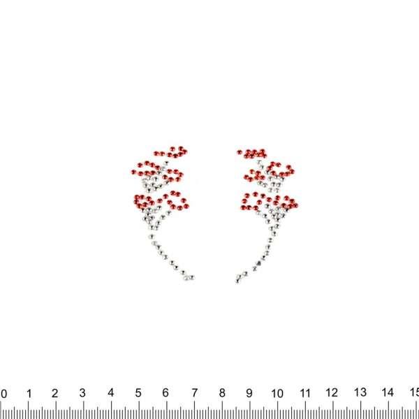 Термоапликация стразы металл Цветочная ветка 60х70мм красно-серебристая