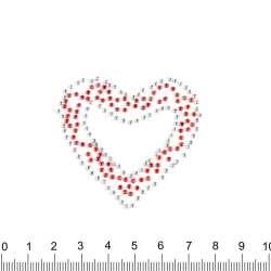 Термоапликация стразы металл Сердце красное 50х50мм красно-серебристая