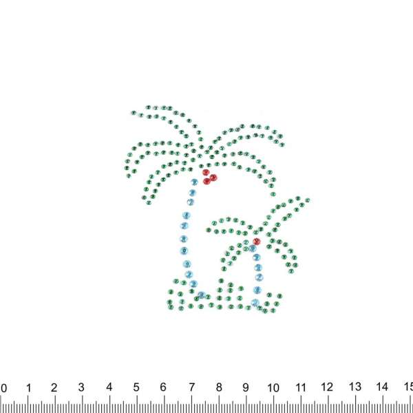Термоапликация стразы металл Пальмы 70х80мм зелено-голубые