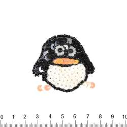 Нашивка с пайетками Пингвин 50х50мм