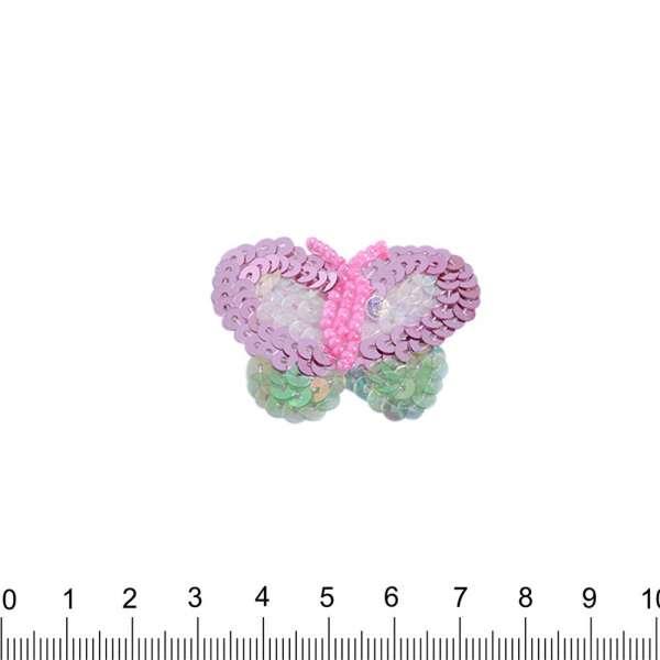 Нашивка с пайетками Бабочка 35х50мм розовая