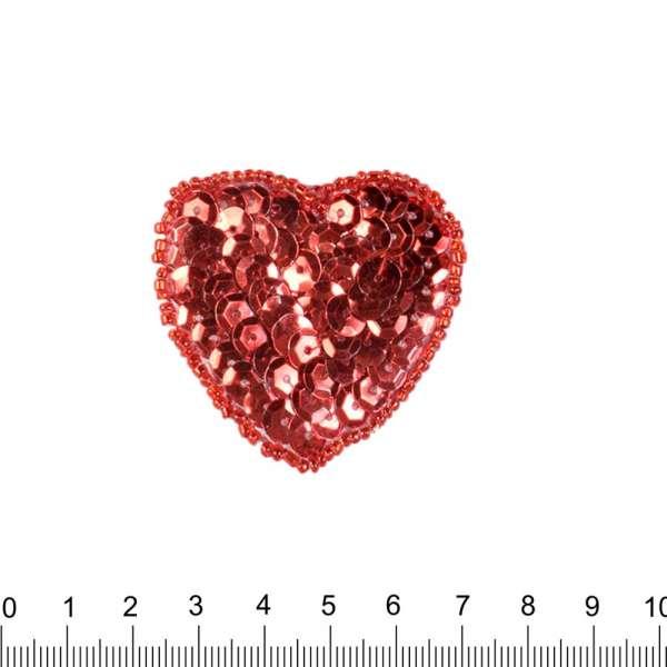 Нашивка с пайетками Сердце 50х50мм