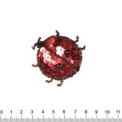 Нашивка с пайетками Божья коровка 50х50мм красно-черная