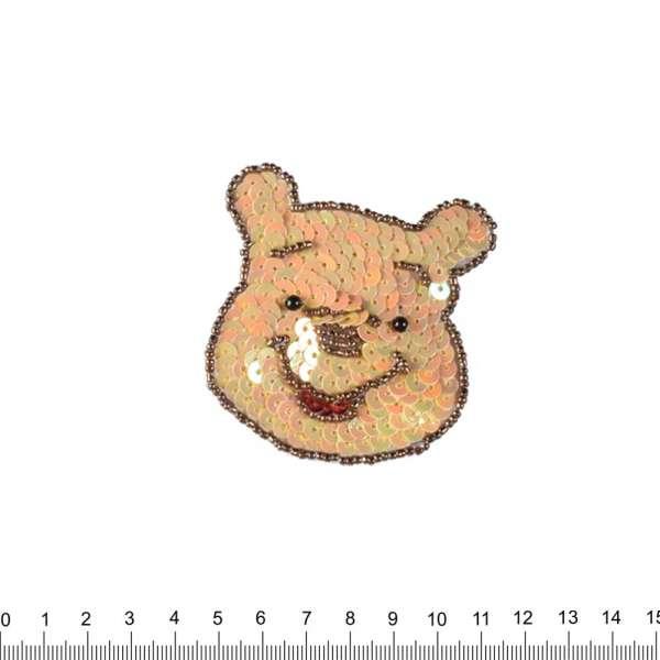 Нашивка с пайетками Винни-Пух 70х70мм
