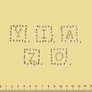 аппликация YZICA золотистая, мет.стразы, 5х19см