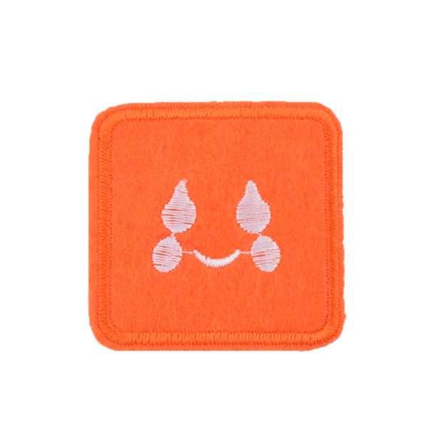 Термоаппликация Квадрат со смайликом 45х45мм оранжевый