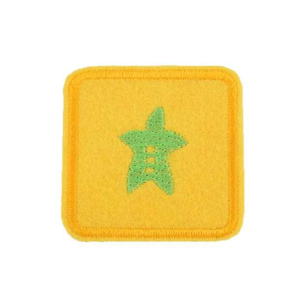 Термоаппликация Квадрат с листом зеленым 45х45ммжелтый