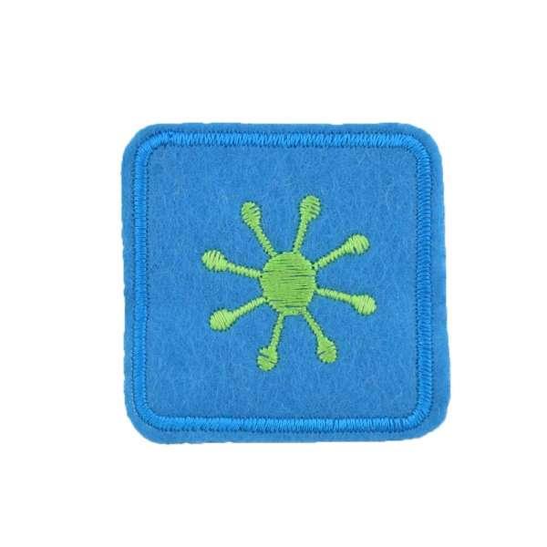 Термоаппликация Квадрат с солнцем зеленым 45х45мм голубой