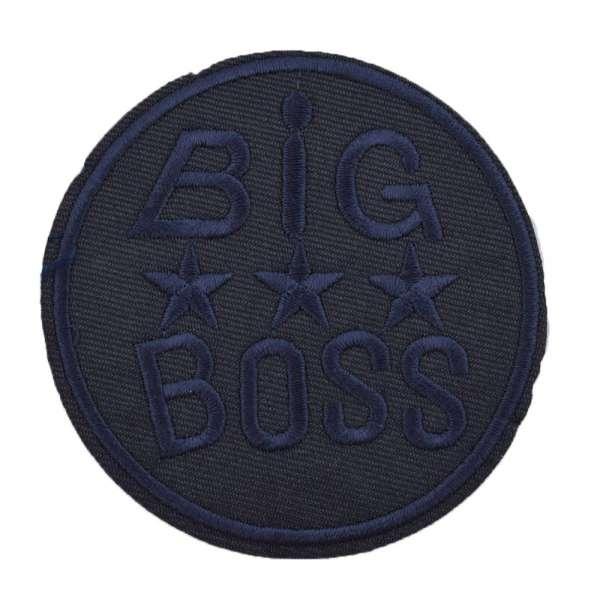 Термоаппликация Эмблема круглая BIG BOSS 80х80мм синяя
