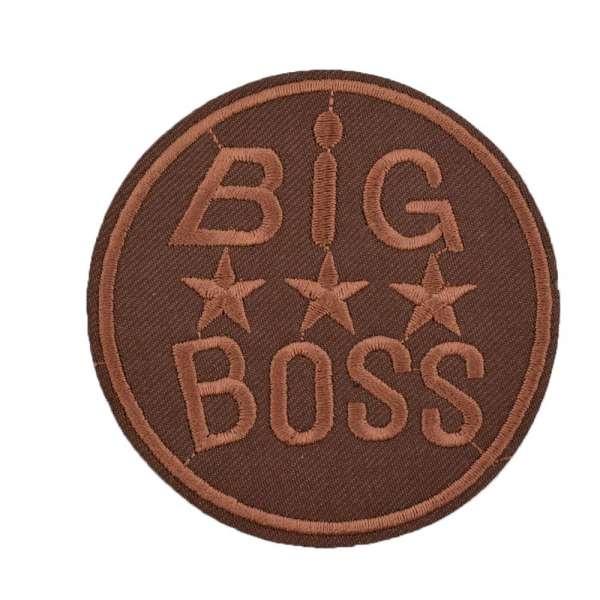 Термоаппликация Эмблема круглая BIG BOSS 80х80см коричневая
