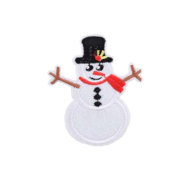 Термоаппликация Снеговик в шляпе черной 70х80мм
