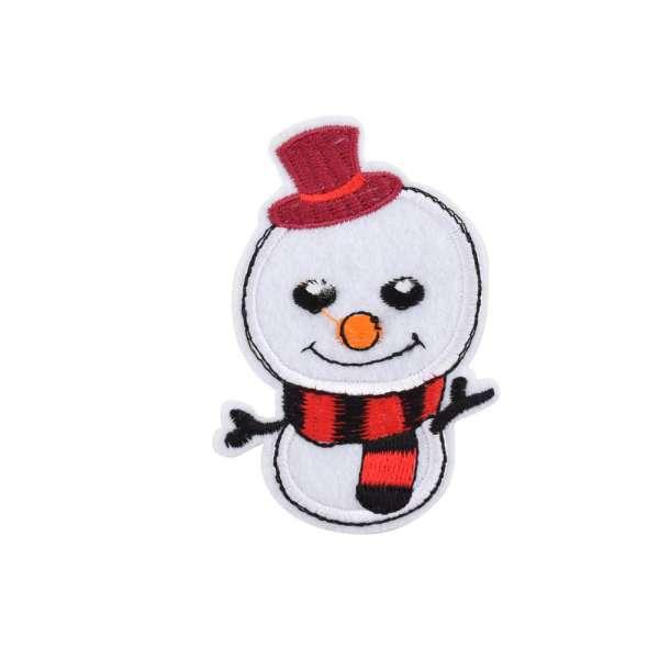 Термоаппликация Снеговик в шляпе красной 60х90мм