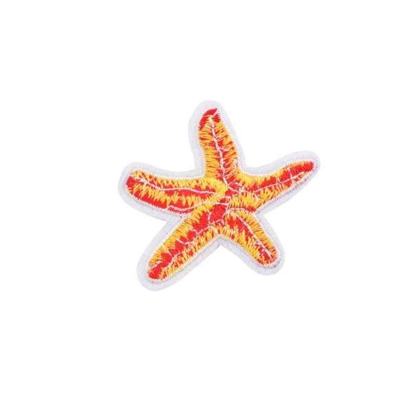 Термоаппликация Звезда морская 50х55мм желто-красная