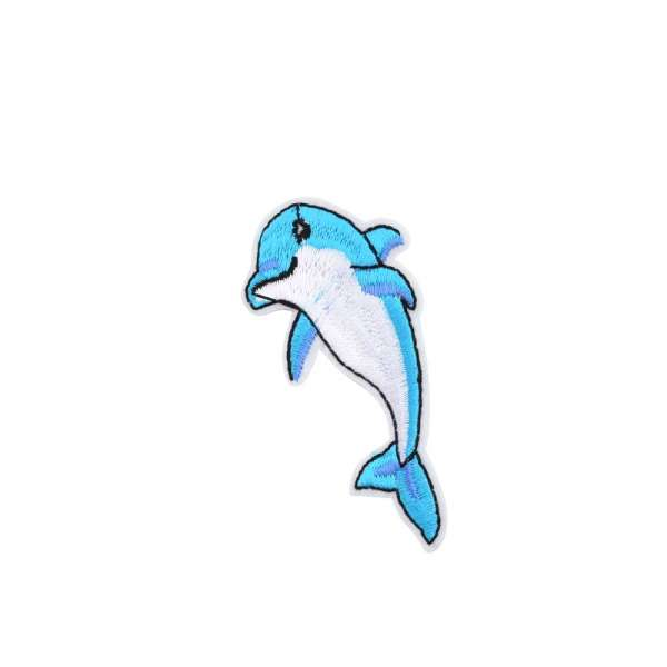 Термоаппликация Дельфин 40х80мм голубой