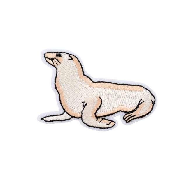 Термоаппликация Морской котик 50х70мм бежевый