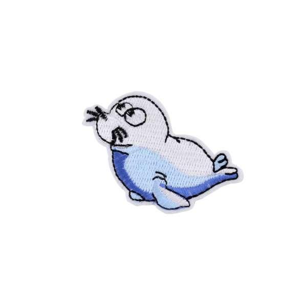Термоаппликация Морской котик 70х50мм бело-голубой