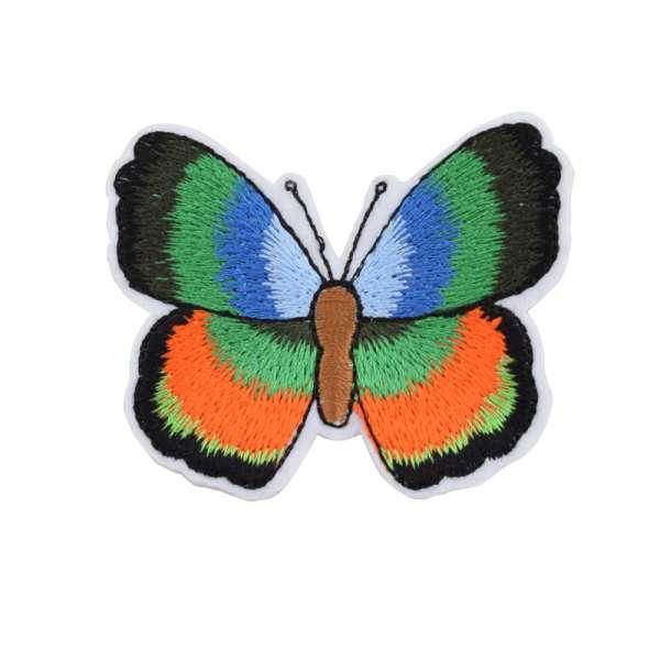 Термоаппликация Бабочка 70х50мм зелено-оранжевая