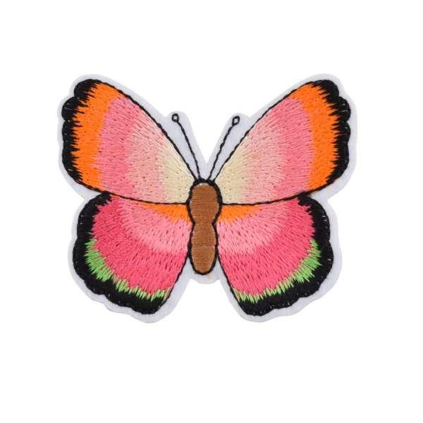 Термоаппликация Бабочка 70х50мм розово-оранжево-зеленая