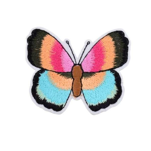 Термоаппликация Бабочка 70х50мм розово-оранжевая