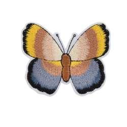 Термоаппликация Бабочка 70х50мм желто-серая