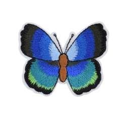 Термоаппликация Бабочка 70х50мм сине-зеленая