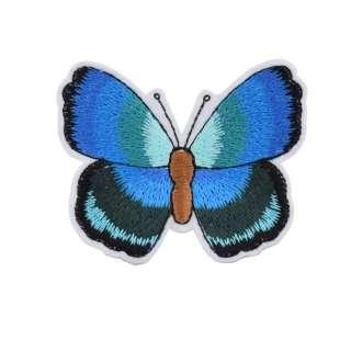 Термоаппликация Бабочка 70х50мм сине-салатовая