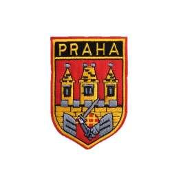 Термоаппликация Герб PRAHA с замком 50х80мм красный